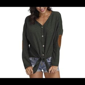 Womens Long Sleve Patch Elbow Top, XL